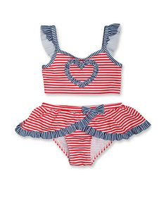 Look at this Penelope Mack Red & White Born In the USA Bikini - Infant, Toddler & Girls on today! Baby Bikini, Usa Bikini, Baby Swimsuit, Little Girl Fashion, Toddler Fashion, Fashion Kids, New Baby Girls, My Baby Girl, Baby Kids