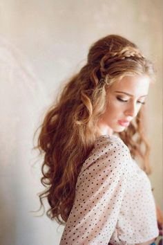 Braided head band, lovely blouse.