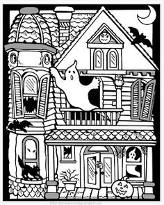 love it intricate halloween coloring page suitable for older children will keep them - Haunted House Coloring Pages
