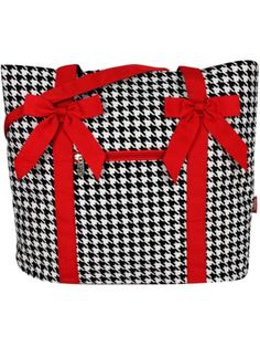 $14.90 Houndstooth Shoulder Tote with Red Trim