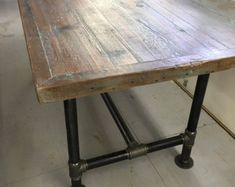 Industrial Pipe Leg Planked Dining Table by Lapalletcreations