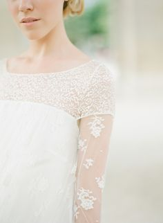 Delicate Lace Sleeve Wedding Dress 275x375 Wedding Dresses with Sleeves