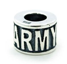 ARMY 925 Sterling Silver Bead Charm fits Troll by YourCharmedStory, $18.00