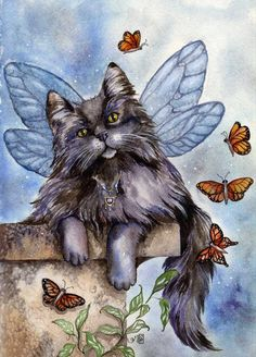 Fairy Cat.  You wonder why your cat runs 80 mph at night?  Guess who he is playing with!
