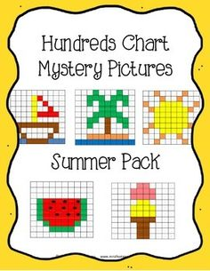Students will love discovering the summer mystery pictures while practicing place value and recognizing colors and numbers on a hundreds chart. Use the key to color in the boxes and reveal a hidden picture! Each picture comes in 2 versions for differentiation! -Easier version has the numbers on the chart already filled in. -Harder version is blank, so students fill in the numbers 1-100 before coloring in the picture. Pictures are: sailboat, palm tree, sun, watermelon, ice cream cone $