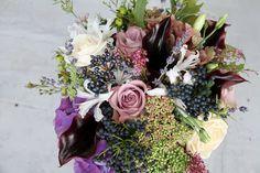 The Flower Magician: Winter Hedgerow Purple Wedding Bouquet