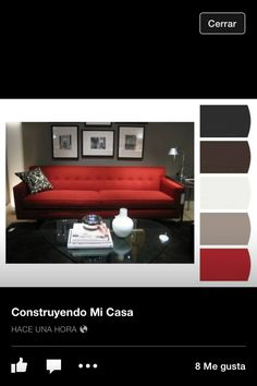 Masculine And Modern Living Room With Gray Walls Black Lacquer Furniture Red Sofa