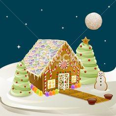 Gingerbread House Scene Royalty Free Stock Vector Art Illustration