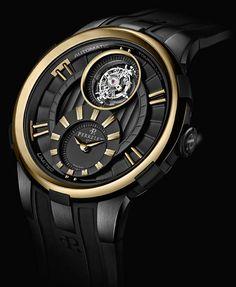 La Cote des Montres : Montres Perrelet Tourbillon et Turbine Black & Gold - Un mariage de tonalités opposées