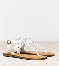 White  AEO Studded T-Strap Sandal