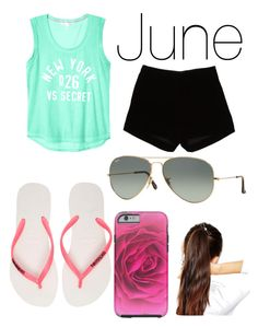 """""""June Outfit"""" by unicorn-narwhal ❤ liked on Polyvore featuring Andrew Gn, ASOS, Havaianas, Ray-Ban, women's clothing, women, female, woman, misses and juniors"""