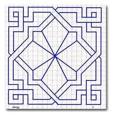 Nice square template - I could add more detail to the centre part. Graph Paper Drawings, Graph Paper Art, Blackwork Patterns, Zentangle Patterns, Geometric Drawing, Geometric Art, Geometric Quilt, Islamic Art Pattern, Pattern Art