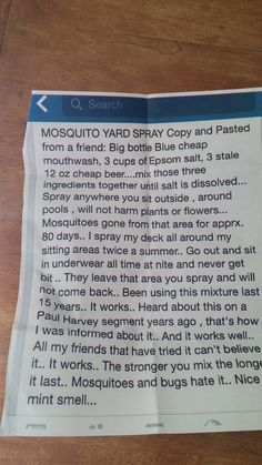 DIY mosquito yard spray