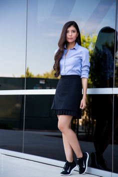 Check out this great inspiration for wearing sneaker with the perfect professional work outfit.