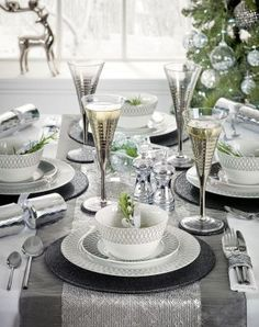Stepping away from traditional red and golds this year? Then opt for stunning silver for your Christmas table!