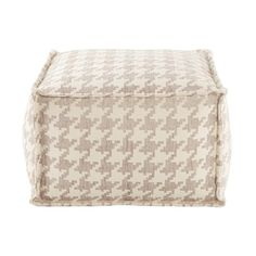 Add additional seating and the perfect fashion statement with this rectangular floor pouf ottoman. Its linen and white, houndstooth pattern combined with its distinctive purpose will create the right amount of fun to any room.