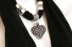 Black Scarf Jewelry Heart Pendant Diamante by RavensNestScarfJewel, $27.00