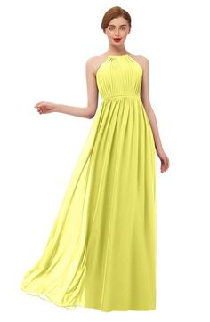 f9ae45f87357 ColsBM Peyton - Pale Yellow Bridesmaid Dresses. ColsBM Peyton Pale Yellow Bridesmaid  Dresses Pleated Halter Sleeveless Half Backless ...