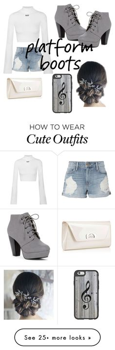 """""""cute outfit with platform boots."""" by belle-lambert on Polyvore featuring Off-White, Frame, Christian Louboutin and Casetify"""