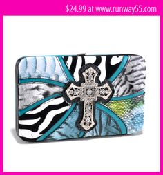 Blue Safari Frame Wallet with Rhinestone Cross
