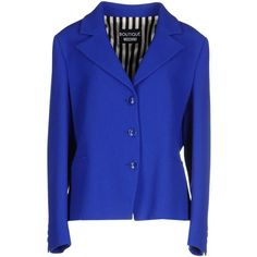 Boutique Moschino Blazer (1.535 BRL) ❤ liked on Polyvore featuring outerwear, jackets, blazers, bright blue, blue blazer, multi pocket jacket, single breasted jacket, long sleeve blazer and long sleeve jacket