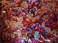 "Pintura "" Guerra , Sexo e Música "" - 2004 | Óleo sobe tela 230x160 cm | Autor:Custódio Almeida // 70 000€"