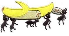 BANANA W/PICNIC ANTS EMBROIDERED IRON ON APPLIQUE