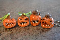 Zombie Pumpkin polymer clay keychains and ornaments