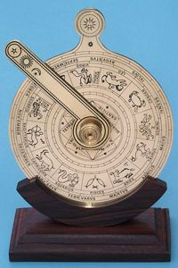 The Nocturnal was a navigational instrument used on ships to observe certain stars relative to the pole star in Ursa Minor, enabling the navigator to discover the hour at night.