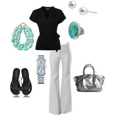 """Black & Turquoise"" by vintagesparkles78 on Polyvore"