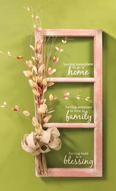 Home, Family, Blessings Window - click through project samples. window pane ideas Home, Family, Blessings Window Window Pane Crafts, Old Window Crafts, Window Pane Decor, Old Window Panes, Old Window Projects, Window Art, Diy Projects, Window Frames, Window Frame Ideas