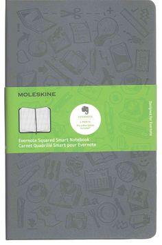 Moleskine Evernote Smart Squared Notebook Hard Cover Grey