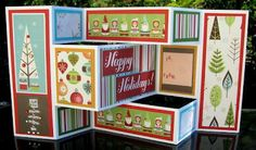 This link has a great template for the trishutter version as well as a square tri-fold. DIY - Christmas Tri-Fold Cards @PaperVine - so cool, these fold flat for mailing!