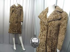Vintage 60s Womens Fitted Curly Sheepskin Coat by ZeusVintage