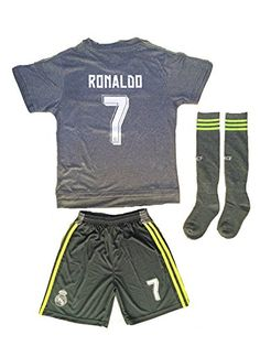 201516 Real Madrid Kids Away Grey Ronaldo 7 Youths Children Football Soccer Jersey  Short  Socks 1113 year Olds >>> Want to know more, click on the image.Note:It is affiliate link to Amazon.