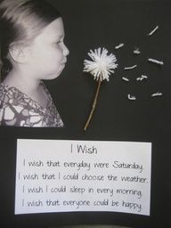 cute i wish writing activity. Take photos of children pretending to blow dandelion, then use art project of yarn and sticks for actual dandelion. so cute for preschoolers :) spring bulletin board