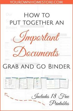 How to create a complete emergency important documents grab and go binder. How to create a complete emergency important documents grab and go binder (in 9 simple steps). Includes 18 free pages you can print for your binder. Newly Updated with an opportun Emergency Preparedness Kit, Emergency Preparation, Emergency Supplies, Emergency Planning, Emergency Packs, Survival Supplies, Organizing Paperwork, Binder Organization, Organising
