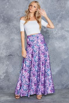 Falling Purple Maxi Skirt - LIMITED ($120AUD) by BlackMilk Clothing