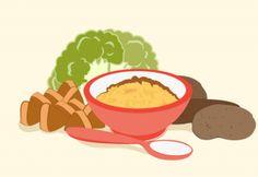 Purê de inhame, brócolis, chuchu e carne
