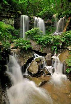Lower Turkey Foot Falls in Hawks Nest State Park, West Virginia by Ed Rebein