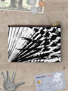 Spiked Palm Pouches by Polka Dot Studio, new, #graphicdesign of #palm leaves in black and white for a contemporary #tropical #design on #fashion #accessories. A fun way to #organize, with coordinating products; drawstring #bags, #tote, #phonecases, #mugs and more! Plenty of great #giftideas.