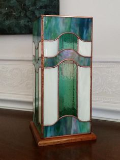 Contemporary Green Table Lantern - Light Up Our Gallery Entry - Delphi Artist Gallery Stained Glass Lamps, Stained Glass Designs, Table Lanterns, Entry Lighting, Green Table, Artist Gallery, Light Up, Glass Art, Diy Projects