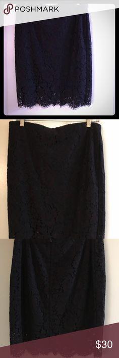 Banana republic lace skirt 8 Navy blue and purple lace skirt. Size 8. Banana Republic Skirts Pencil