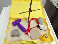 """Our Easter sensory box (idea """"stolen"""" from a creative mom blogger). How do you tell the Easter story?"""