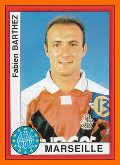 Panini European Cup an unrecognisable Olympique Marseille Fabian Barthez! Football Stickers, Football Cards, Football Soccer, Baseball Cards, Fabien Barthez, Team Mascots, Player Card, Good Soccer Players, Great Logos