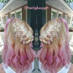 Lovely candy pink ombre hair for blonde hair girls, match French braids, the waterfall hair style is so nice~