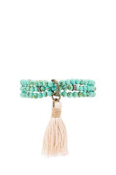 Ettika Beaded Wrap Bracelet in Turquoise & Cream | REVOLVE