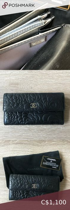 Authentic CHANEL Long Flap Wallet Used Chanel Wallet with Dustbag and authenticity card.  Black lamb skin with silver tone hardware. Multiple card slots and coin pocket.  Please note that it has been used so there are some visible wear and use. Still a very beautiful classic piece! CHANEL Bags Wallets