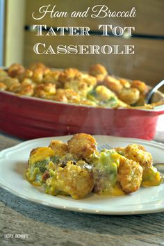Ham and broccoli tater tot casserole recipe is a great ham casserole that uses leftover ham and a great twist on a favorite casserole.