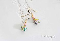 Origami Jewelry  Japanese Origami Star Earrings with Plated